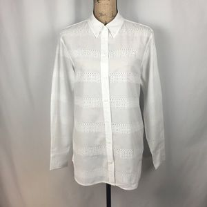 Equipment Femme White Striped Eyelet Shirt Sz M